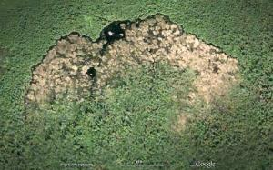 A beaver dam - as seen from space, via Google Earth imaging. A very, very impressive structure.